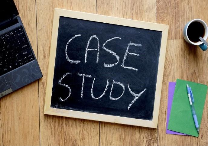 case study written on blackboard