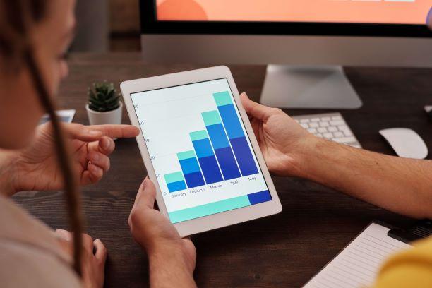 iPad with graph